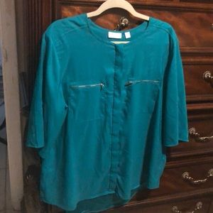 New York and Company Stretch Teal Blouse